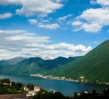 Lake Como Italy is surrounded by the Alps