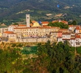 Motovun, beautiful Istrian old town surrounded with truffle forest