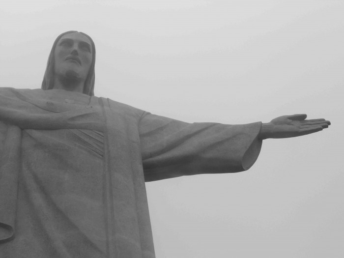 I took a color photo of Cristo Redentor but the weather wasn't on my side