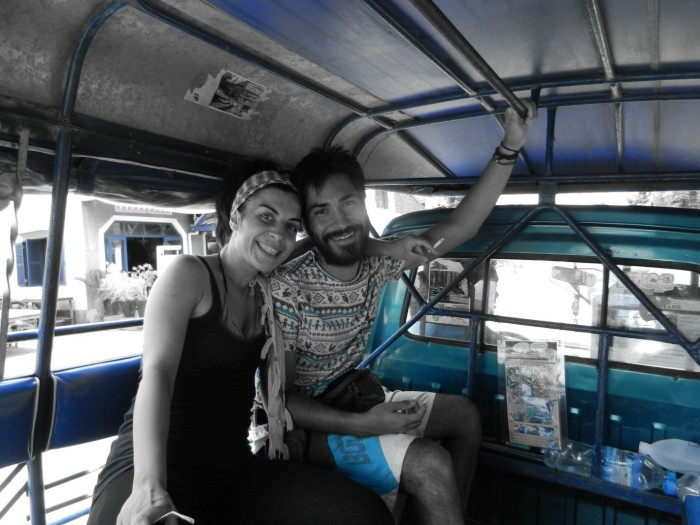 My friends Ame and Rey on the tuk tuk to Luang Prabang city