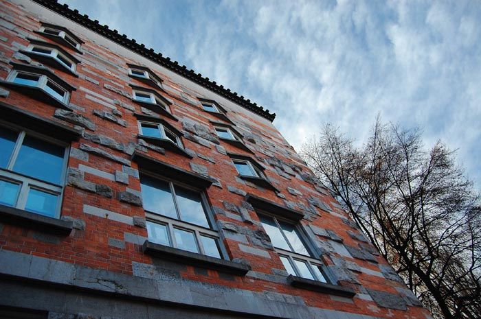 The quirky orange and grey façade of NUK as designed by Jože Plečnik