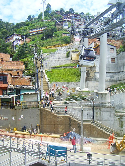 The Metro Cable joining popular neighborhoods to the city center - Medellin