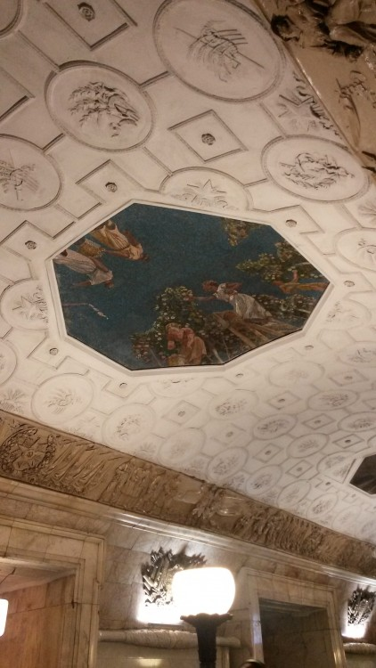 ceiling one of the stations of Moscow Metro