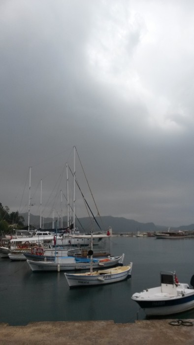 it started with rain and then became sunny. at Kaş Marina