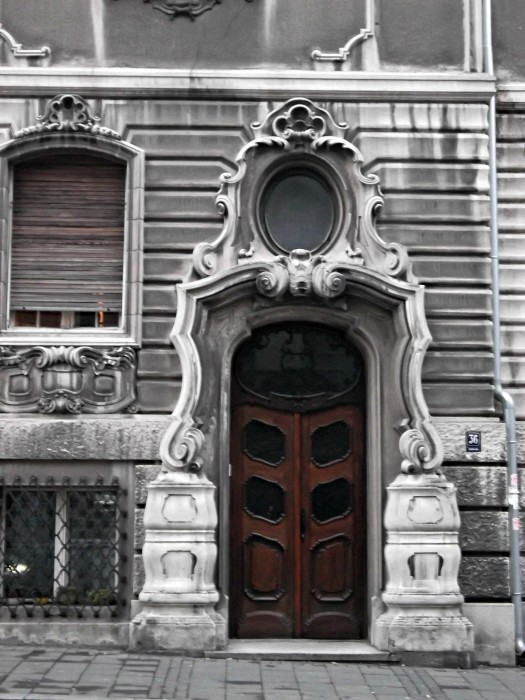 Beautiful Baroque Style Door at a street on the way to St. Sava Temple