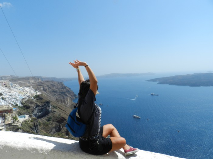 Me, June 2014. Santorini Island. When you are at the peak, you don't mind the storms.