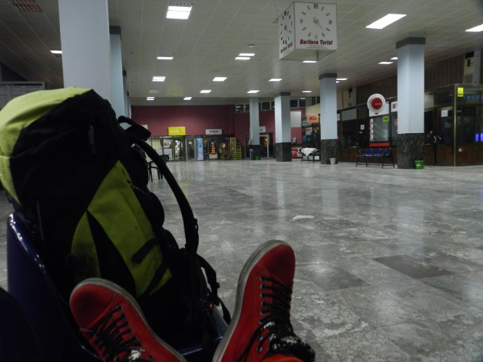 Waiting at the bus station of Prishtina in cold and exhaustion, but satisfied with a great trip I had