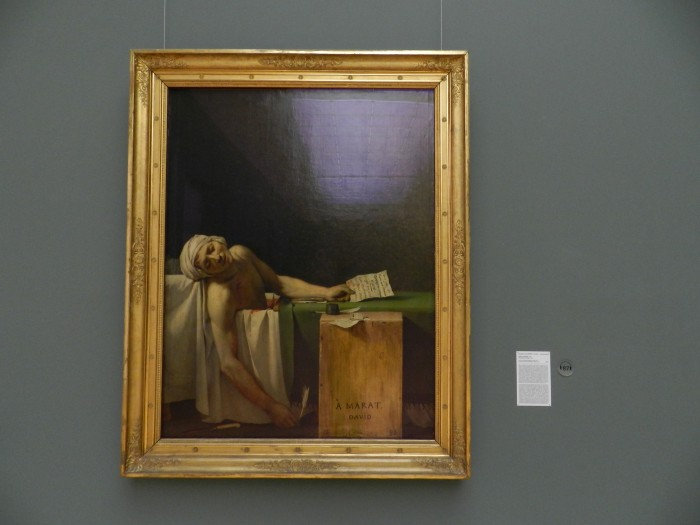 The Death of Marat (La Mort de Marat), 1793. Jacques Louis David, at Royal Museums of Fine Arts of Belgium
