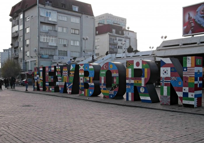The Newborn Monument with the flags of the countries on it which have recognized Kosovo after its declaring independence.