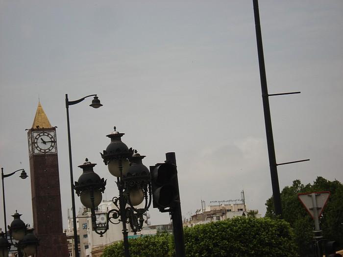 Big brown clock in the city