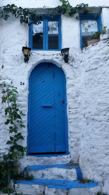 Blue painted doors and windows around the castle