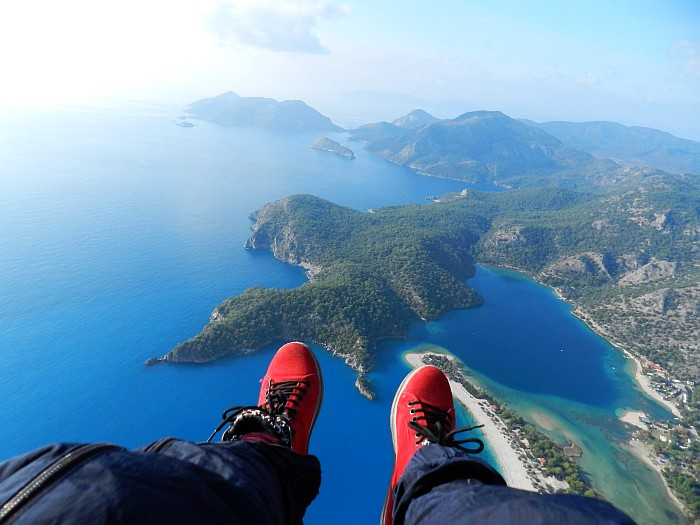 This is the view you get if you do tandem flight. 31st December 2013 in Ölüdeniz (Blue Lagoon)