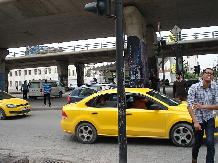 Taxi is easy to spot - yellow