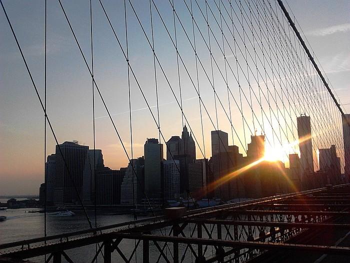 Manhattan from the Brooklyn Bridge New York