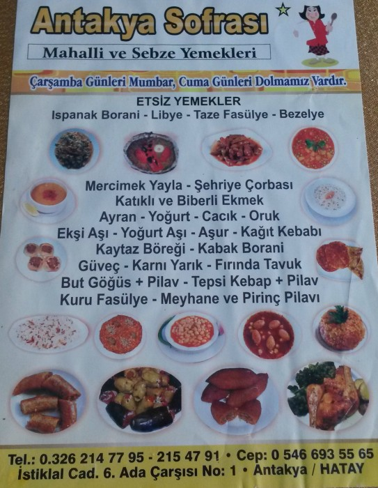 Menu at Antakya sofrası