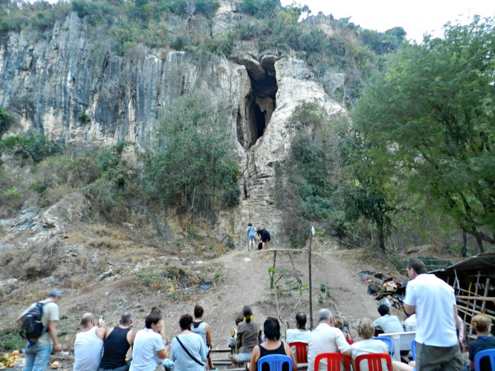 Thousands of bats pour out of the cave every evening at dusk. Mount Sampov