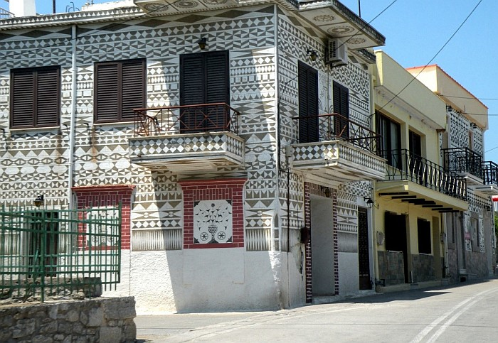 The famous facade of the house in Pyrgi