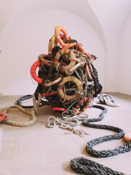 Somebody didn't forget about the Refugees, at Albertinum. Artist: Birgit Dieker (1969) - Captor of Souls.2005. life belts, mooring ropes.