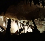 Stalagmites and stalactites inside the Cave of the Winds Colorado