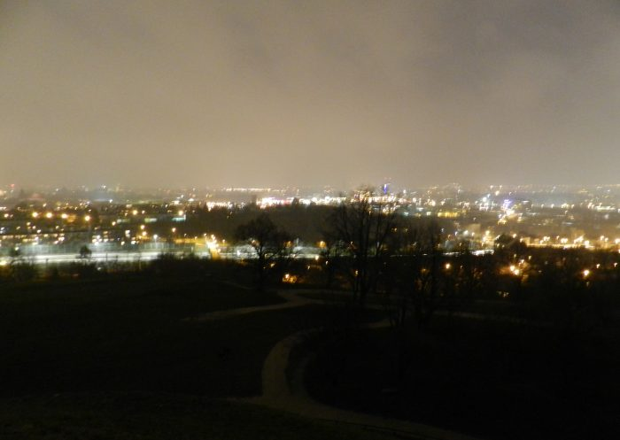 View of Krakow by night from Kopiec Kraka Mountain