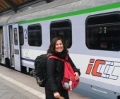at Wroclaw Glowny. Kindly requested a stranger for a photo, but I almost missed the train :)