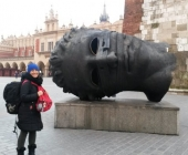 Giant Head Sculpture, Eros Bound at Rynek Glowny