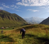 Mowing the lawn in traditional way, Ushguli