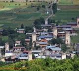 Typical Svaneti village with stone build towers (koshkebi), Ushguli
