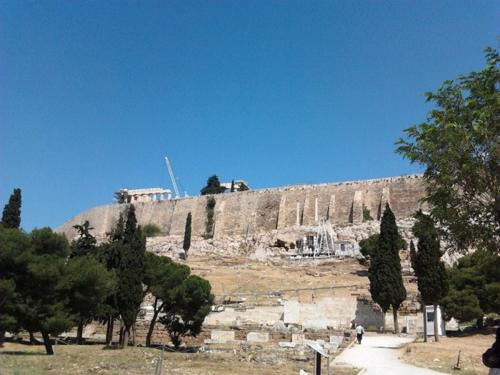 View of the Acropolis of Athens from its base