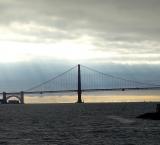 Admiring the Golden Gate Bridge from the Alcatraz Island