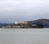 The Alcatraz Island, with the prison on the top of it
