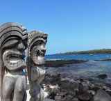 The Tiki statues are guarding over the Big Island Hawaii