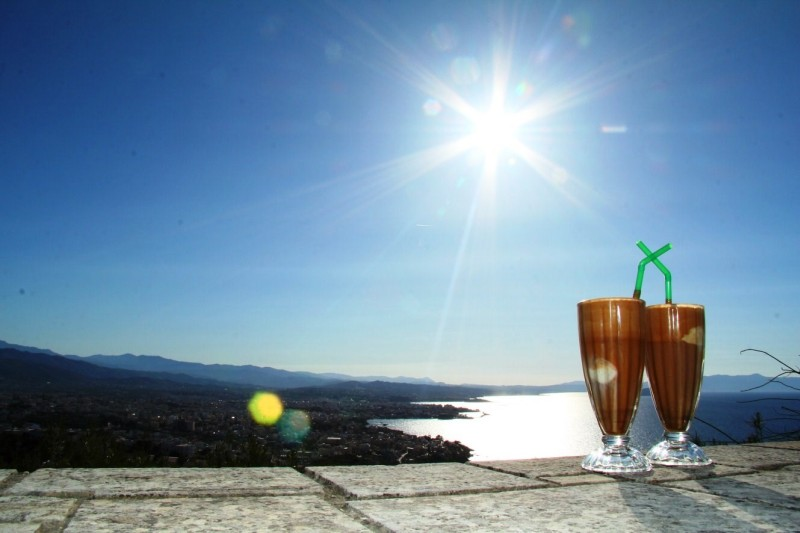 Drinking a Frappe above Crete