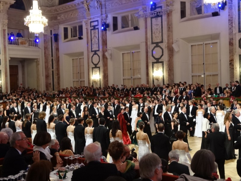 People dancing Viennese waltz during a ball