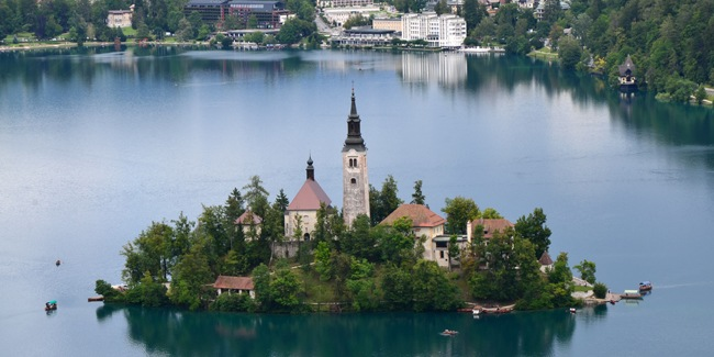 Panoramic picture of Lake Bled Slovenia