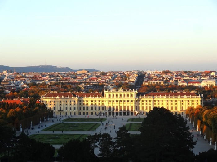 Sunset over the Schonbrunn Palace Vienna