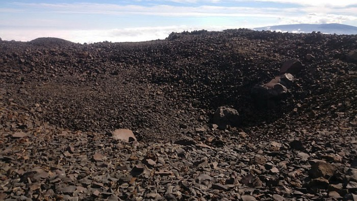 One of the biggest extraction pits (20 x 20 m), where the stone workers would find the basalt rock.