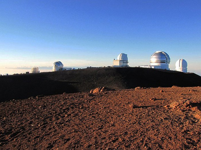 The biggest observatories on the top of the mountain.