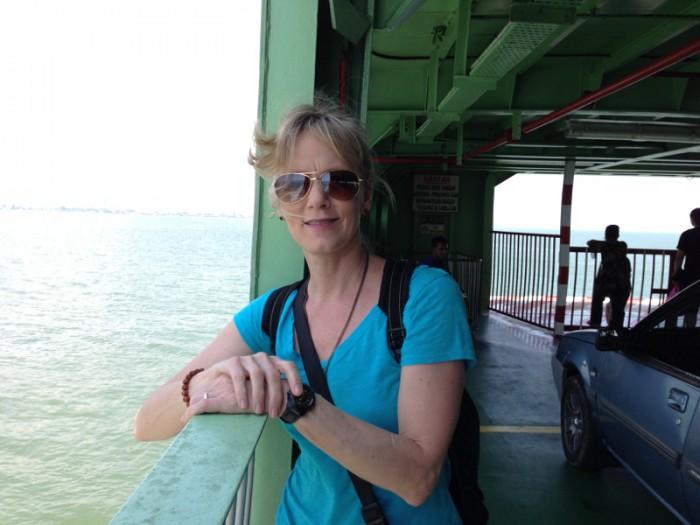 Barbara on car ferry, Penang Malaysia