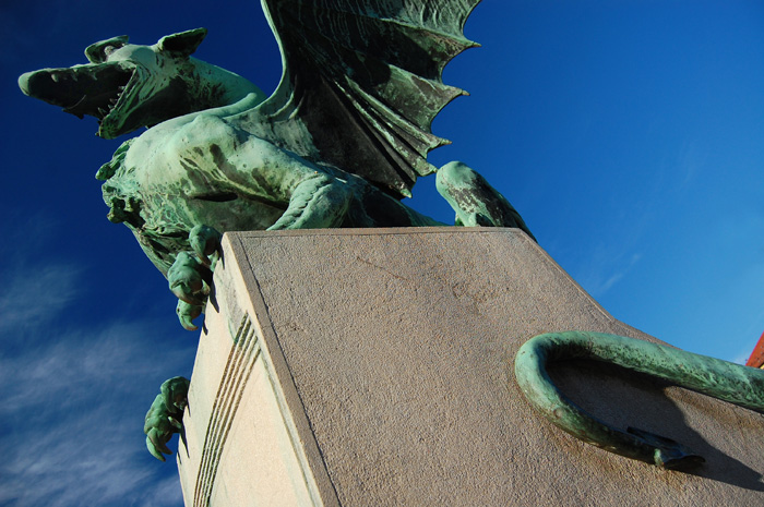 The famous Ljubljana dragon as seen on The Dragon Bridge