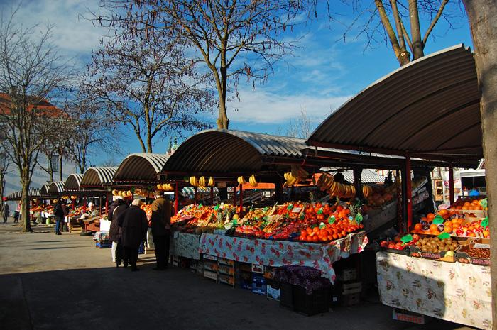 Right next to the Dragon Bridge is the Ljubljana central market.