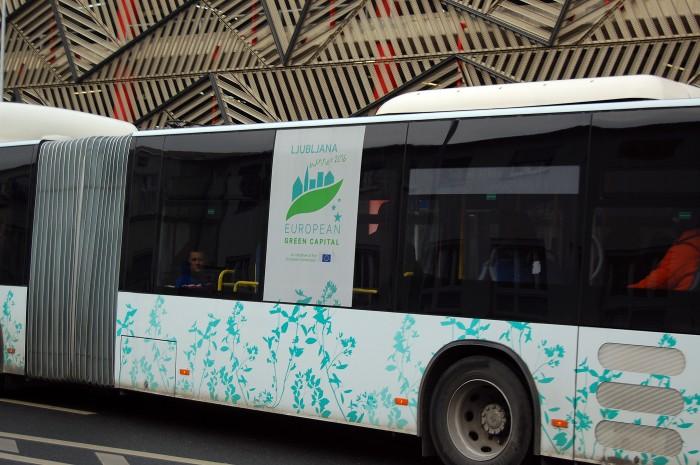 "Shameless self-promotion: ""European Green Capital 2016"" written on one of the Ljubljana city buses"