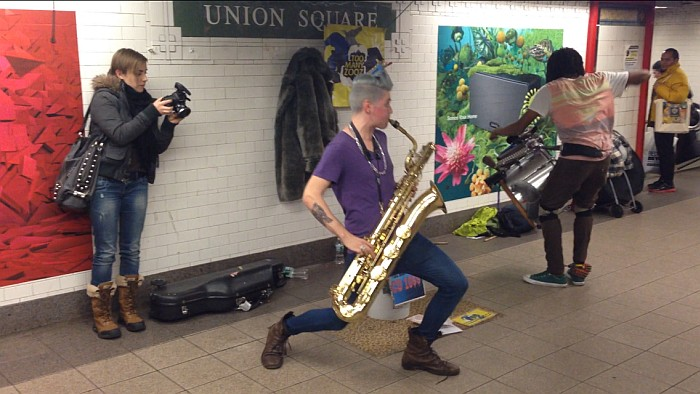 """This guy and his drummer are called """"too many zooz"""" amazing electronic style all with the sax and drums"""