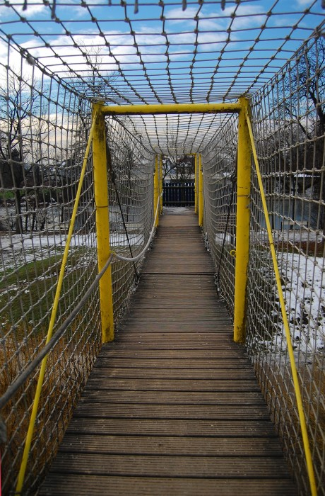 I didn't want to up my creep status by photographing children. So here's a photo of a bridge – it was super bouncy!