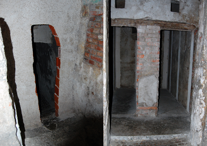 Hostel Ljubljana: The old prison cells of in the basement of Hostel Celica. On the left is the entrance to the area. If you think this is creepy, try imagining it in pitch black. On the right are the two jail cells. It's a tight fit!