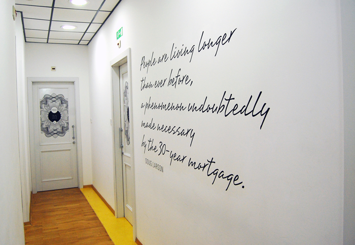 Hostel Ljubljana: The walls of Tresor are full of sayings related to money and finance.