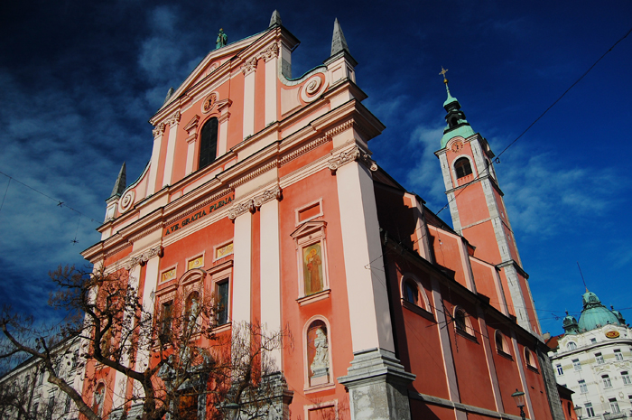 What to see in Ljubljana: The Franciscan Church of the Annunciation, which overlooks Prešeren Square
