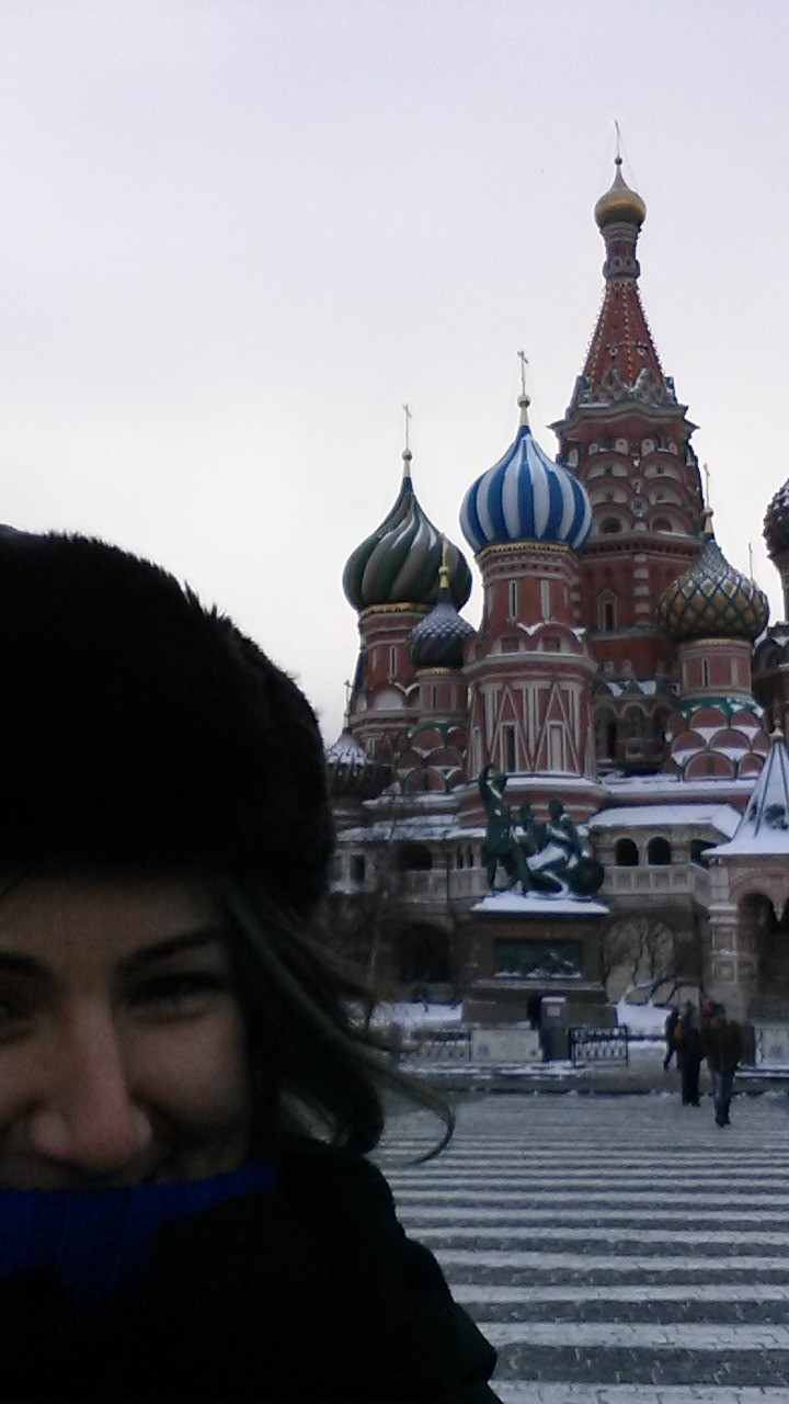 my selfie attempt in front of St. Basil's Cathedral in Red Square