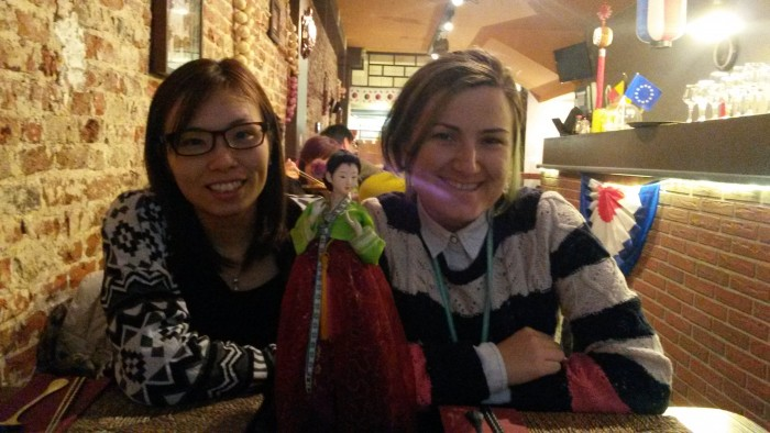 Me and Yuko at a Korean restaurant near Grote Markt
