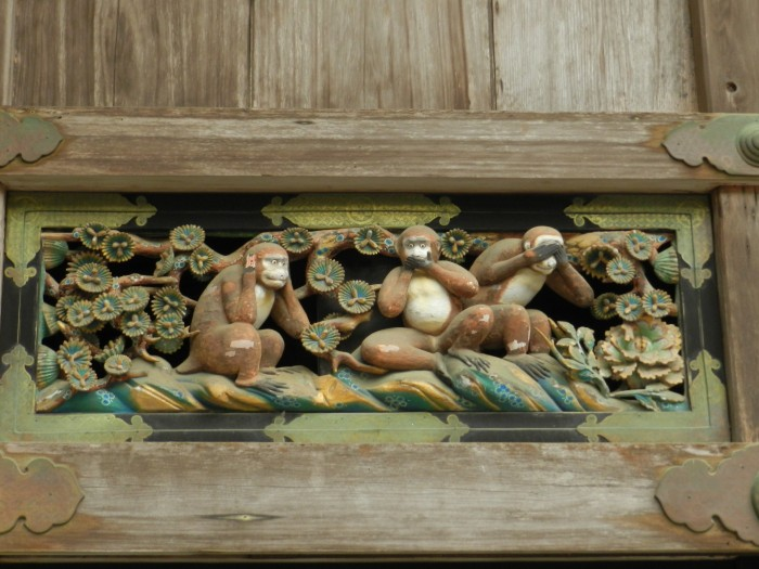 Nikko World Heritage Site in Tochigi Prefecture.  where the tree wise monkeys spread the world from. Three monkeys tell us that children should Hear no evil- Say no evil- See no evil